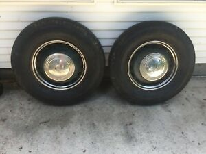 2 1936 1939 Ford Truck Wide 16 5 Lug Artillery Style Wheels With Tires Caps