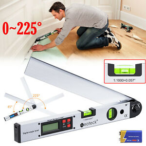 0 225 Electronic Digital Lcd Angle Finder 16 Stainless Steel Protractor Ruler
