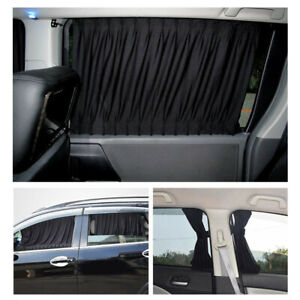 2pcs Car Window Curtain Sunshade Universal Baby Van Suv Uv Kit Black Us Stock