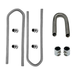 Stainless Steel 24 Radiator Hose 44 Heater Hoses W Chrome Clamp Covers Kit