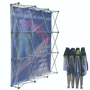 8 x10 Tension Fabric Backdrop Pop Up Straight Booth Frame With Graphics 3x4