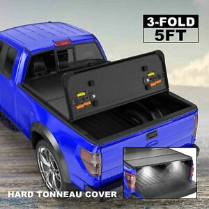 Hard Tonneau Cover For 05 15 Toyota Tacoma Truck 5ft Bed 3 Fold On Top Lamp