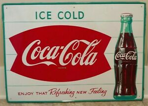 1960s Fishtail Coca Cola Metal Advertising Sign 28