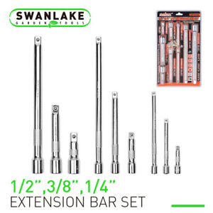 9 Piece Extension Bar Set 1 4 3 8 1 2 Drive Socket Extensions Wrench Extend
