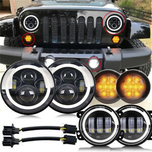For Jeep Wrangler Jk 07 18 7 inch Led Headlight Fog Light turn Signal Lamp Set