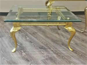 Mid Century Regency Labarge Brass Cocktail Coffee Table Cabriole Leg Glass Top