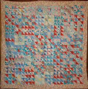 Tons Of Triangles Thin Antique Summer Quilt Vintage Feedsack Scrap Fabrics