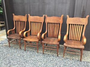 4 Pressed Back Bent Wood Antique Chairs