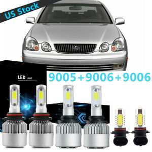 Combo Led Headlight Fog Light High Low Beam Bulbs For 98 05 Lexus Gs 300 400 430
