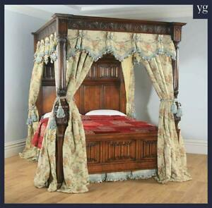 English Tudor Style 6ft Super King Size Oak Carved Full Tester Four Poster Bed