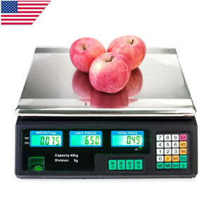 88lb 40kg Digital Weight Price Scale Computing Deli Food Meat Computer Scale Us
