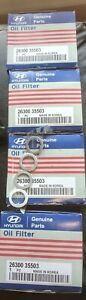 4 Pack Oem Hyundai Kia Oil Filters 26300 35503 With Crush Washers