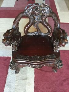 Antique 19th C Chinese Carved Mahogany Dragon Chair Super Cool
