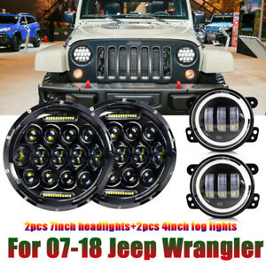 For Jeep Wrangler Jk Jku 7inch Led Halo Headlights Hi lo Beam Drl 4 Fog Lights