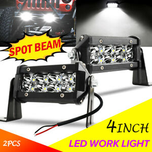 2pcs 4 Inch Cree Led Work Light Bar Spot Flood Off Road Truck Reverse Fog Lights