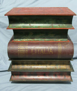 Vintage Italian Tole Stacked Books Accent End Table B