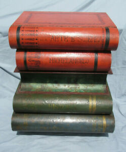 Vintage Italian Tole Stacked Books Accent End Table A