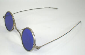 Antique Welding Spectacles With Dark Cobalt Blue Lenses Vintage