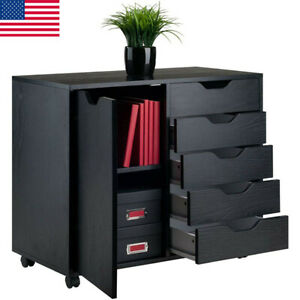 Wood Cabinet Home Office Rolling File Organizer Box 5 Drawers 2 compartment Box