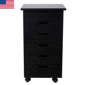 6 Drawer Wood Rolling Filing Cabinet File Storage Organizer Home Office W wheels