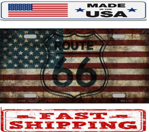 Route 66 American Flag Vintage Metal Tin License Plate Frame Tag Sign For Car