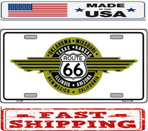 Route 66 Shield Emblem Metal Tin License Plate Frame Tag Sign For Car And Truck