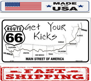 Us Route 66 Map Metal Tin License Plate Frame Tag Sign For Car And Truck