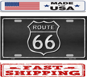 Route 66 Shield Black Metal Tin License Plate Frame Tag Sign For Car And Truck