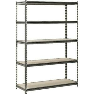 Muscle Rack 48 W X 18 D X 72 H 5 shelf Steel Shelving Silver vein