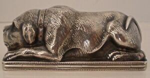 Very Rare Figural Dog Sterling Or Coin Silver Snuff Box Likely American C 1850