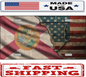 Florida State American Flag Metal Tin License Plate Frame Tag Sign For Car Truck