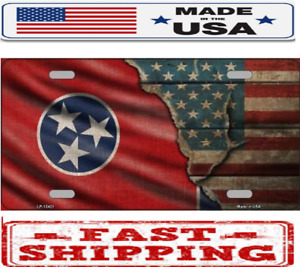 Tennessee State American Flag Metal Tin License Plate Frame Tag Sign For Car
