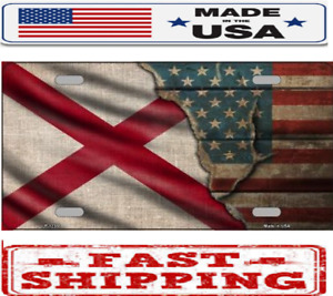 Alabama State American Flag Metal Tin License Plate Frame Tag Sign For Car Truck
