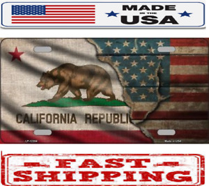 California State American Flag Metal Tin License Plate Frame Tag Sign For Car