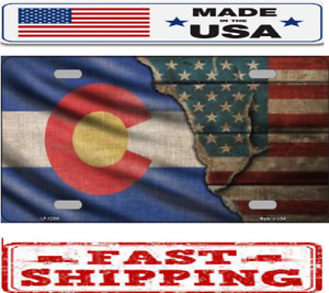 Colorado State American Flag Metal Tin License Plate Frame Tag Sign Car Truck