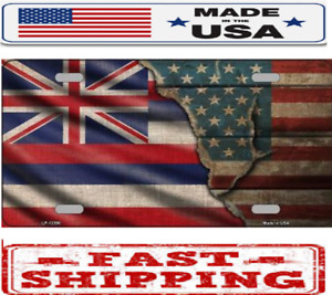 Hawaii State American Flag Metal Tin License Plate Frame Tag Sign For Car Truck