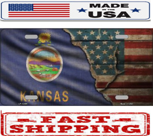Kansas State American Flag Metal Tin License Plate Frame Tag Sign For Car Truck