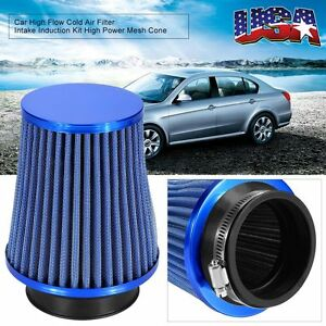 Blue 3inch Inlet High Flow Cold Intake Round Cone Mesh Air Filter High Quality