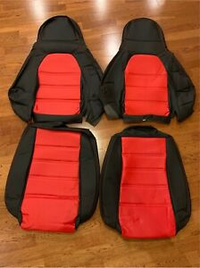 Pair Perforated Leather Seat Covers For 1990 1996 Mazda Miata Na Mx5 Red black