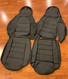 Pair Perforated Leather Seat Covers For 1990 1996 Mazda Miata Na Black black