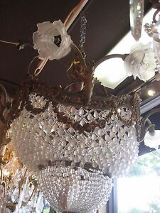 Gorgeous Antique Bronze And Crystals Chandelier