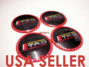 4x 56mm Red Wheel Center Cap Decal Sticker For Trd 4 Runner Tacoma Tundra Rav4