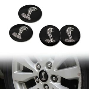 4x 65mm Cobra Black Wheel Center Cap Decal Sticker Focus Mustang Gt Shelby 500