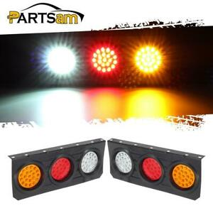 2x 63 Led Truck Trailer Stop Turn Tail Lights With Iron Bracket Base 4 Function