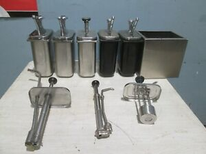 Lot Of 5 Commercial Hd Assorted Condiment syrup sauces Dispensers holder W pumps