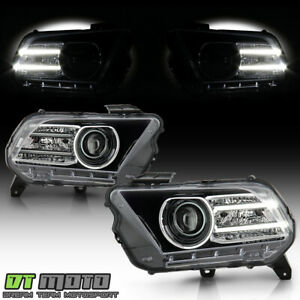 halogen Upgrade 2010 2014 Ford Mustang Led Tube Projector Headlights Headlamps