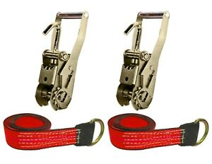 Usa 4pc Red 8 Lasso Strap 2 Ratchet W Finger Hook Tow Truck Tire Wheel Tie