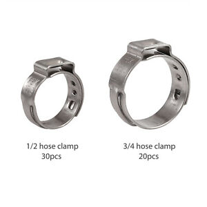 50pcs 1 2 3 4 Inch Pex Stainless Steel Clamp Cinch Rings Crimp Pinch Fitting