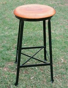 Vtg 1940s Industrial Shop Factory 28 Angle Steel Stool Co Black Base Wood Seat