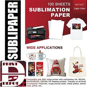 Sublipaper 100 Sheets 8 5x11 Dye Sublimation Heat Transfer Paper Mug Polyester